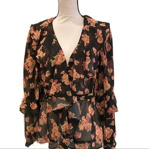 Women's ruffle front blouse